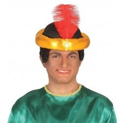 Sombrero maraja oro paje de rey mago arabe