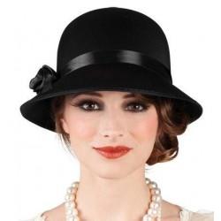 Sombrero charleston negro dama años 20