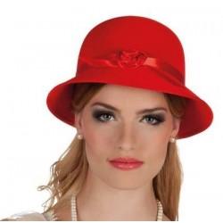 Sombrero charleston rojo dama años 20