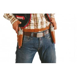 Cartuchera marron doble con 2 pistolas vaquero