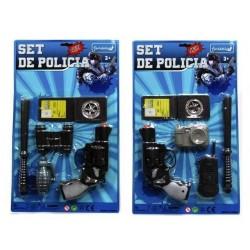 Conjunto policia revolver prismaticos porra placa