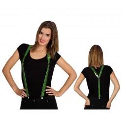 Tirantes verdes con lentejuelas 34x105 cm 14157