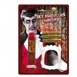 Kit maquillaje vampiro sangre dientes barras 15591