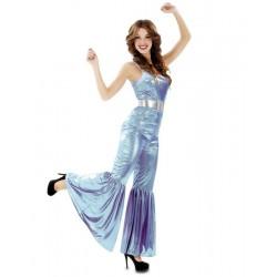 Disfraz mujer disco años 70 80 azul m-l adulto