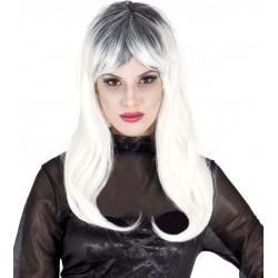 Peluca zombie mujer gris y blanca lisa bruja