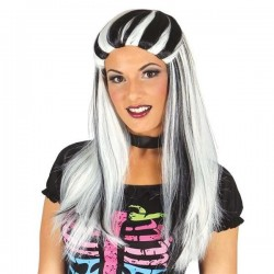 Peluca bruja negra con mechas blancas lisa 49092