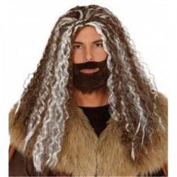Peluca guerreo melena rizada canosa con barba