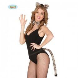 Conjunto leopardo 3 piezas diadema cola pajarita