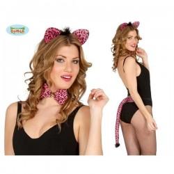 Conjunto leopardo rosa 3 piezas diadema cola pajar