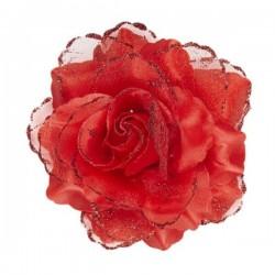 Pinza de pelo flor rosa roja con purpurina