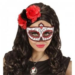 ANTIFAZ DIA DE LOS MUERTOS AZUL Y GLITTER halloween