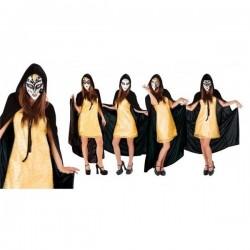 Disfraz veneciana tunica negra con mascara