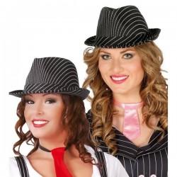Sombrero ganster a rayas negro mascota 13367