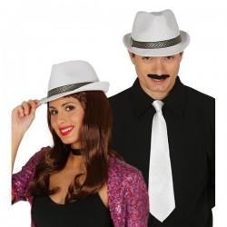 Sombrero gangster blanco mascota 13369