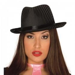 Sombrero gangster rayas negro alta calidad