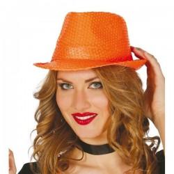 Sombrero lentejuelas naranja 13371