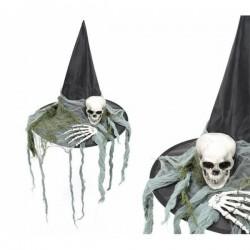Sombrero de bruja con calavera y manos esqueleto