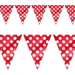 Banderas triangulares plastico roja puntos 5 metro