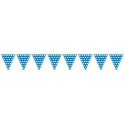 Banderas triangulares plastico puntos azul 5 metro