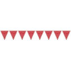 Banderas triangulares plastico puntos rojo 5 metr