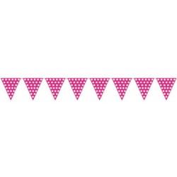 Banderas triangulares plastico puntos rosa 5 metro