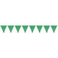 Banderas triangulares plastico puntos verde 5 metr
