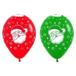 Globo feliz navidad r12 36 cm rojos y verdes