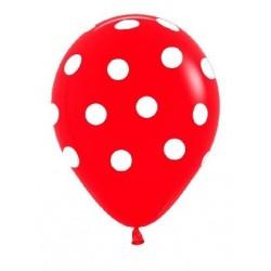 Globo rojo puntos blancos 12 30 cm 12 unidades