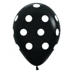Globo negros puntos blancos 12 30 cm 10 unidades
