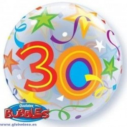 Globo foil numero 30 burbuja estrellas 22 56 cm