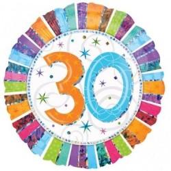 GLOBO 30 CUMPLEANOS COLORES HOLOGRAFICO 18 45 CM