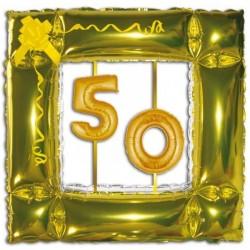 GLOBO MARCO ORO CON Nº 50 ANOS HELIO FOIL