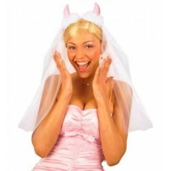 Velo de novia con cuernos de diablesa rosa