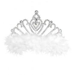 Tiara princesa con marabu blanco corona reina