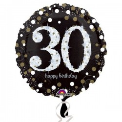Globo 30 cumpleaños negro brillantes 45