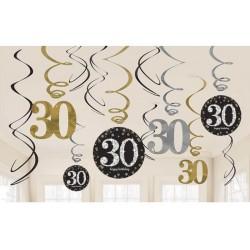Colgantes 30 cumpleaños decoracion oro