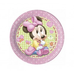 PLATOS MINNIE MOUSE 23 CM BEBE ROSA 8 UNIDA