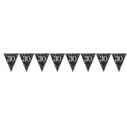 Guirnalda banderines 30 cumpleaños 4 mt negro oro