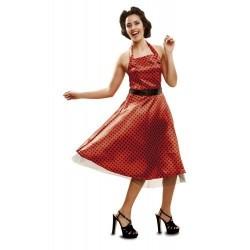 Disfraz chica años 50 vestido rojo lunares t. m-l