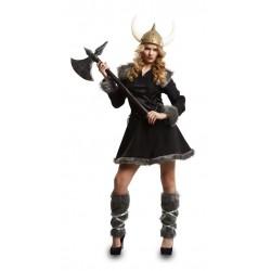 Disfraz vikinga salvaje negro talla m-l mujer lujo