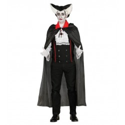 Capa negra 140 cm cuello rojo vampiro dracula