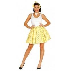 Disfraz pin up  años 50 amarillo lunares blancos
