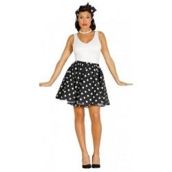Disfraz pin up años 50 negro lunares blancos