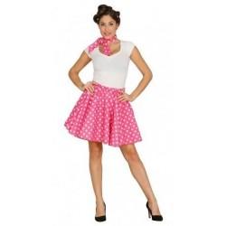 Disfraz pin up años 50 rosa lunares blancos