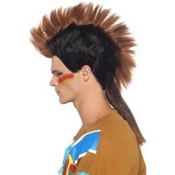Peluca indio mohicano con cresta adulto