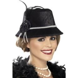 Sombrero negro dama años 20 mujer