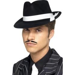 Sombrero alcapone negro cinta blanca flocado