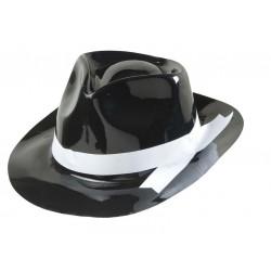 Sombrero ganster negro con cinta blanca plastico