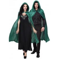 Capa verde con capucha unisex 170 cm