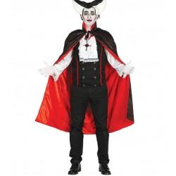 Capa negra vampiro dracula con forro rojo 115 cm